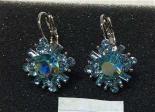 Kirk Folly Silver Tone Blue Beads Earrings
