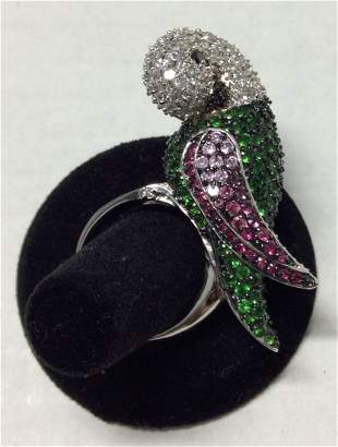 Noir Parrot Multicolor Rhinestones Ring - Size 10.5