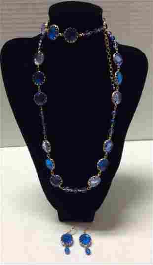 "39"" Joan Rivers Gold Tone Blue Bead Necklace & Earrings"