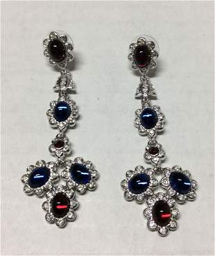 Joan Rivers Silver Tone Blue and Red Bead Earrings