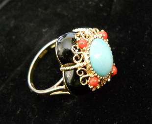 14K Gold Ring with Turquoise