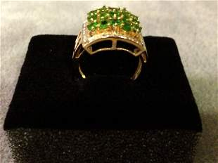 14K Gold Ring with Peridots and Diamond