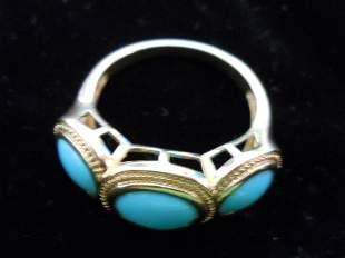 14K Gold Ring with 3 Turquoise