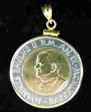 1987 Pope John Paul 500 Lire with 14K Coin Holder