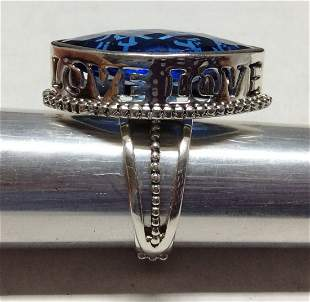 .925 Sterling Silver Blue Sapphire LOVE Ring - Size 9