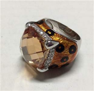 .925 Sterling Silver Tiger Style Orange Ring - Size 8