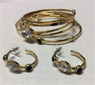 Gold Tone Black and Clear Beads Bracelet & Earrings Set