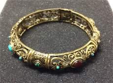 Graziano Vintage Gold Tone Multicolor Beads Bangle