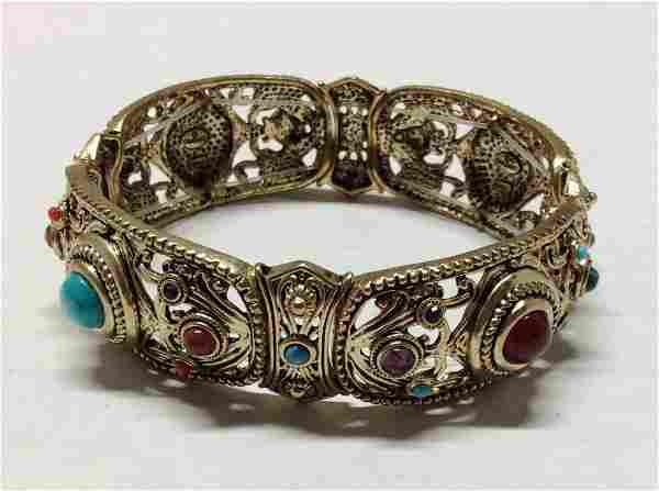Graziano Gold Tone Multicolor Beads Stretch Bracelet