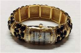 Joan Rivers Gold Tone Black Beads and Rhinestones Watch