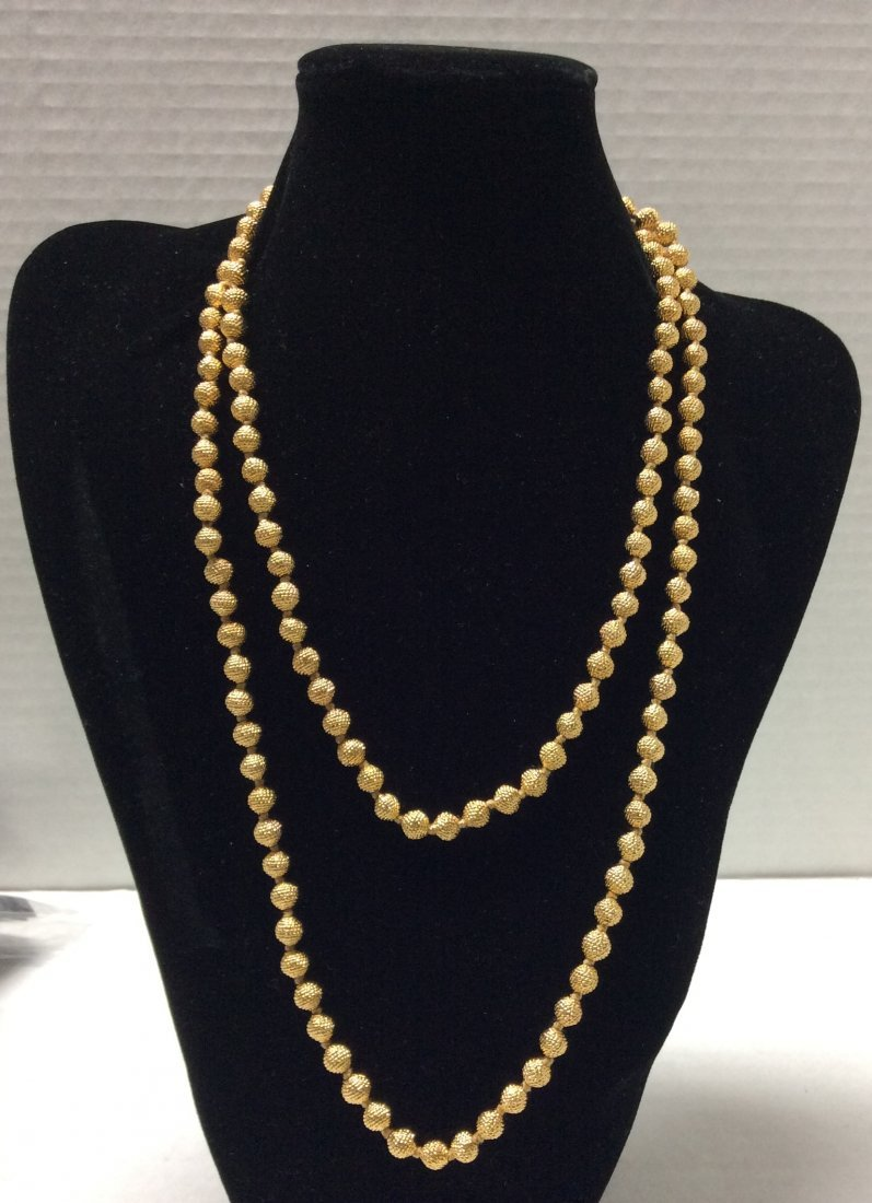 "44"" Joan Rives Gold Tone Costume Necklace"