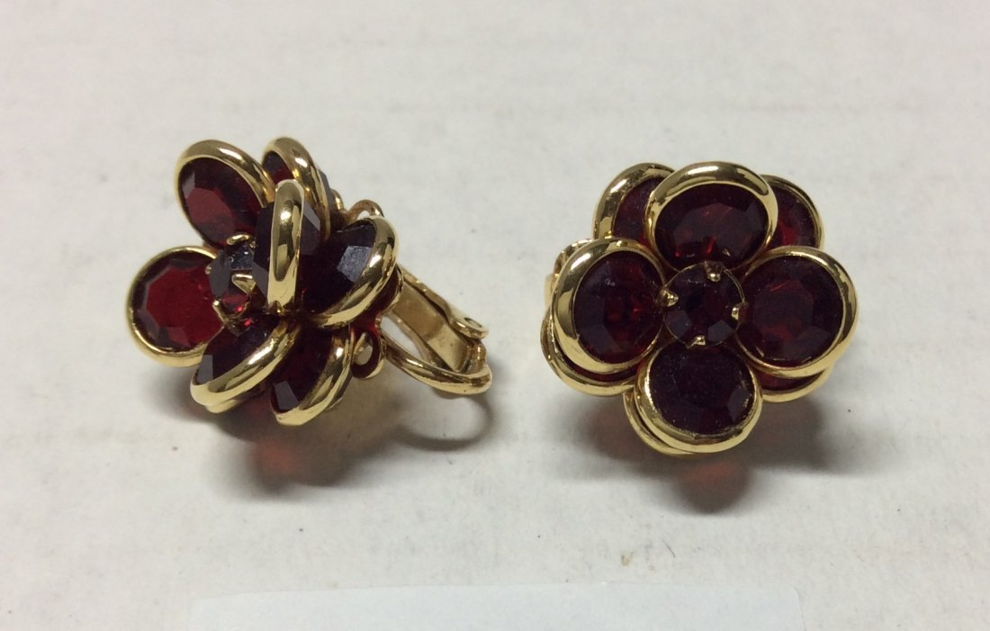 Gold Tone Red Flower Crystal Earrings