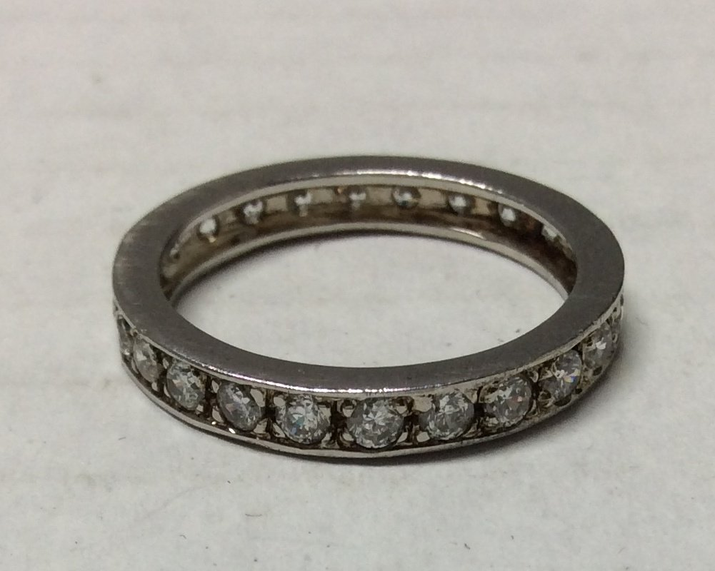 Silver Tone with Rhinestones Ring - Size 10.5