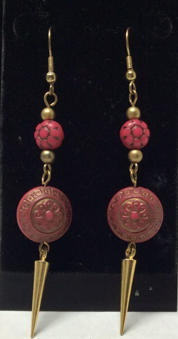 Gold Tone and Fuchsia Earrings