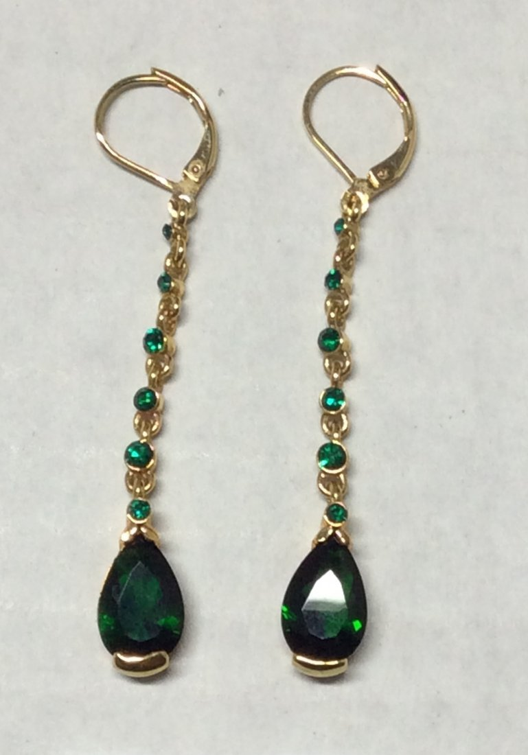 Joan Rivers Gold Tone Green Rhinestones Earrings