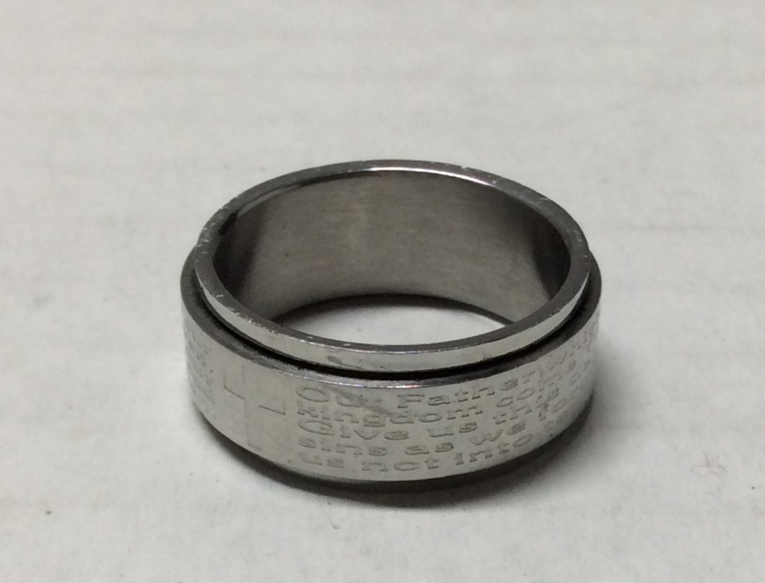 Stainless Steel Ring Engraved Cross - Size 10