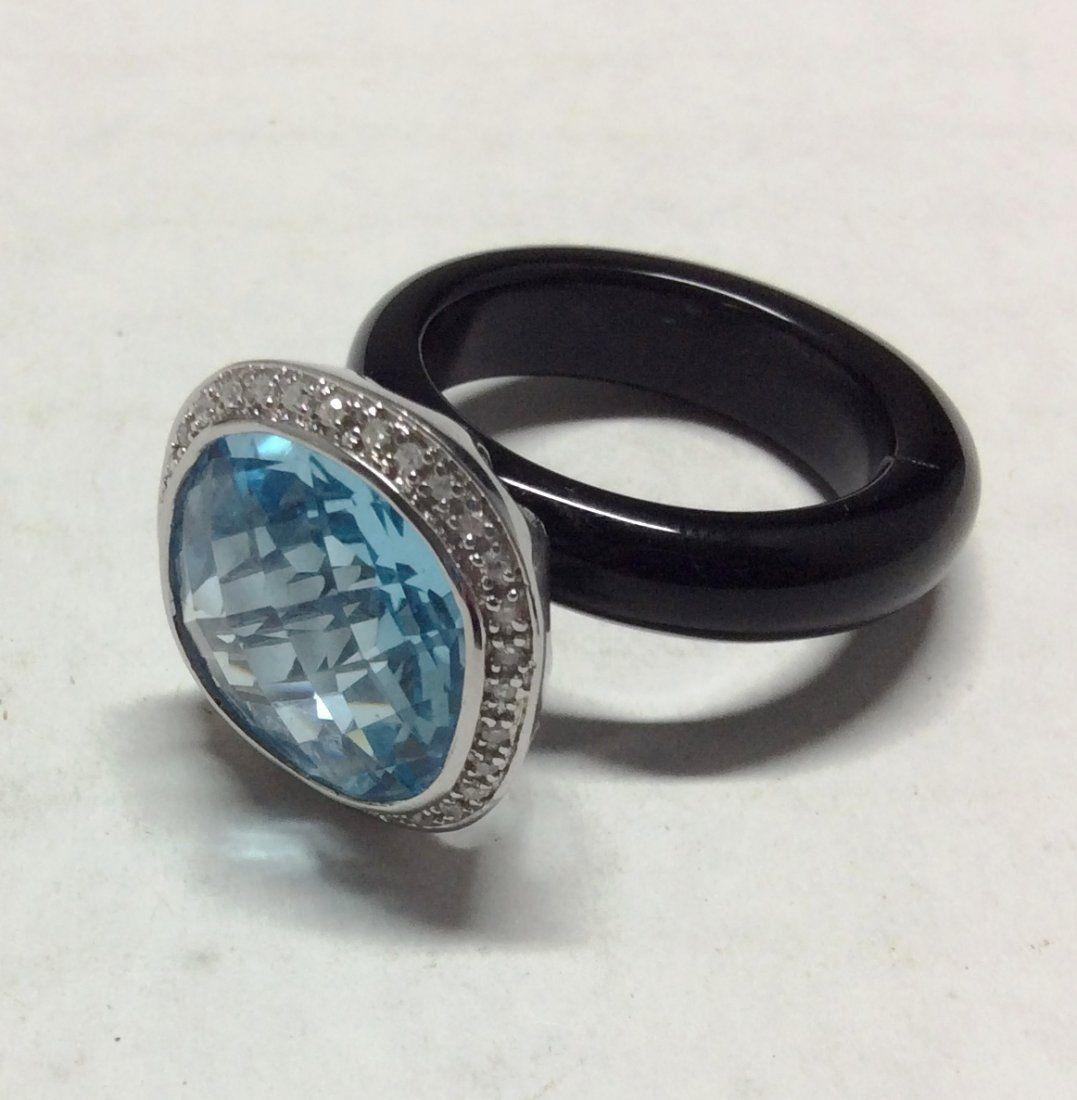 .925 Sterling Blue Topaz & Diamonds Onyx Ring - Size 10