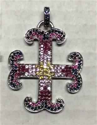 .925 Sterling Silver Multicolor Gemstones Cross Pendant