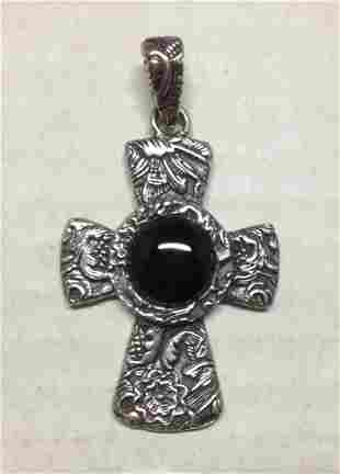 .925 Sterling Silver Black Onyx Cross Pendant