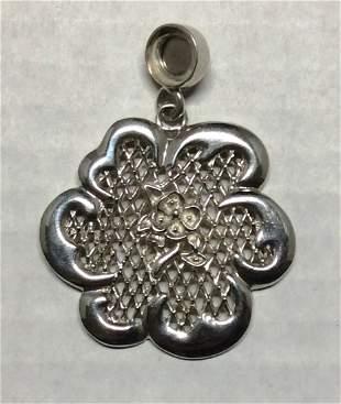 .925 Sterling Silver Flower Magnetic Pendant