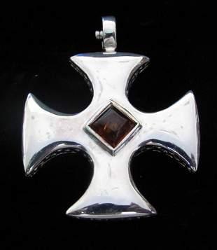 .925 Espo Sig Sterling Silver Snapet Cross Pendant