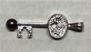 .925 Sterling Silver Key - Diamond and Pearl Pendant