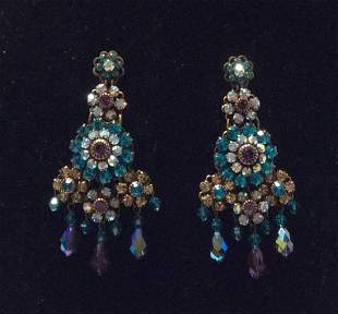 Multicolor Rhinestones Long Earrings
