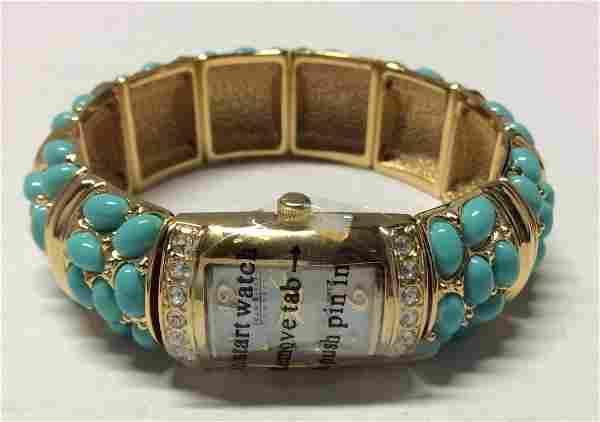 Joan Rivers Gold Tone Blue Beads and Rhinestones Watch