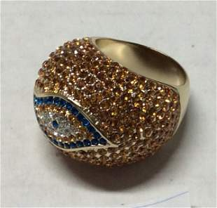 Gold Tone Yellow and Blue Rhinestones Ring - Size 9