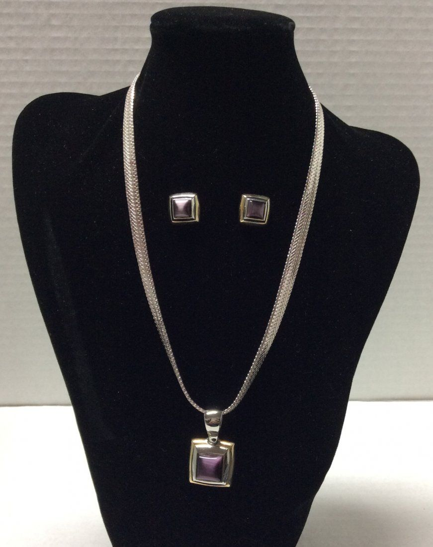 Napier Silver Tone Necklace with Pendant & Earrings Set