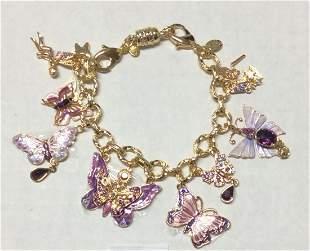 Kirk Folly Gold Tone Butterfly & Fairy Bracelet