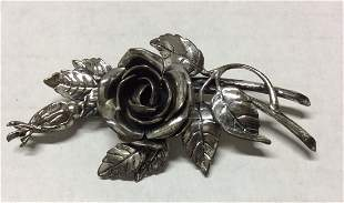 Dane Craft .925 Sterling Roses with Leaves Pin