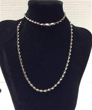 """30"""" .925 Sterling Twisted Costume Necklace"""