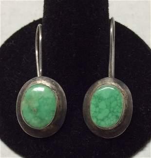 .925 Sterling Silver Green Turquoise Earrings