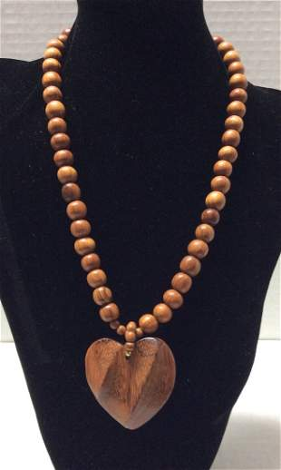 """20"""" Wood Beads and Heart Pendant Necklace"""