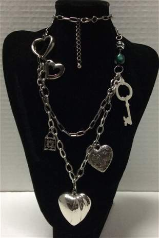 """28"""" Silver Tone Hearts and Key Costume Necklace"""