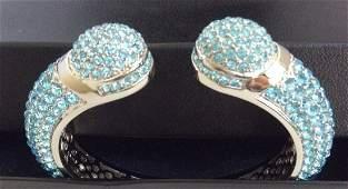 Joan Boyce Kissable Pavé Crystal Blue Cuff Bracelet
