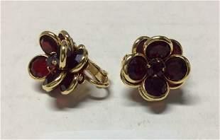 Gold Tone Red Flower Crystal Earrings