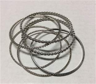 6 Set Silver Tone Bracelets