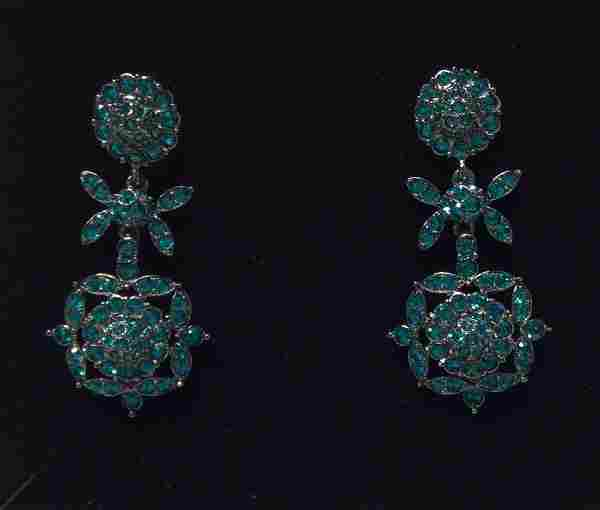 Joan Rivers Blue Rhinestones Earrings