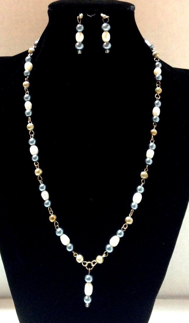 """21"""" LBVYR Gold Tone Multicolor Pearls Necklace &"""