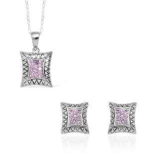"""18"""" Sterling Silver Necklace with Pendant & Earrings"""
