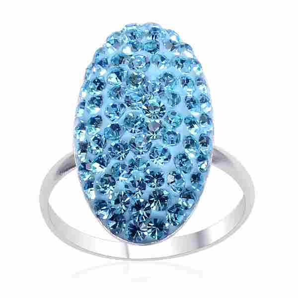 Sterling Silver Light Blue Austrian Crystal Ring - Size