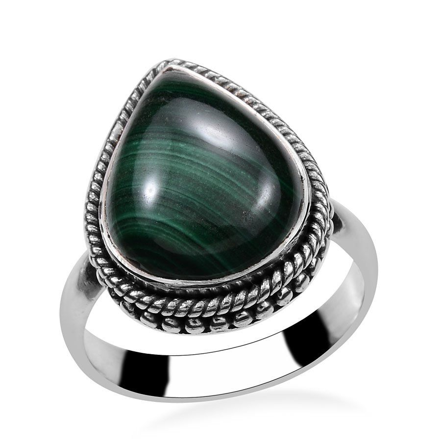 Sterling Silver African Malachite Ring - Size 10