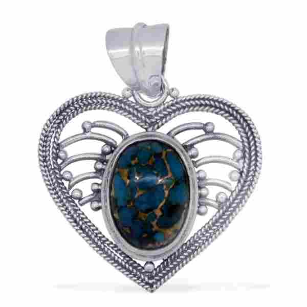 Sterling Silver Mojave Blue Turquoise Pendant
