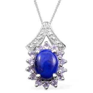 Sterling Silver Lapis Lazuli, Tanzanite Pendant with