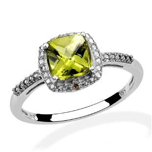 Sterling Silver Hebei Peridot Diamond Ring - Size 7