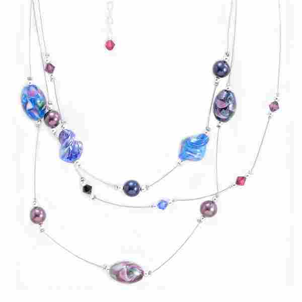 """16""""-19"""" Sterling Necklace with Multicolor Art Glass"""