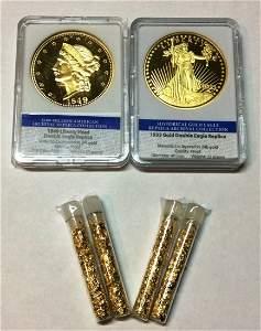 2 Gold Double Eagle Replica Coins & 4 Gold Flakes Vials