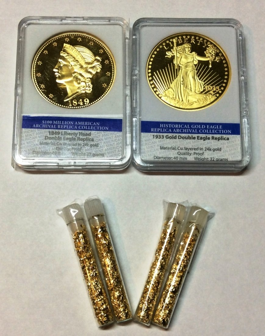 2 Gold Double Eagle Replica Coins & 4 Gold Flakes Vials